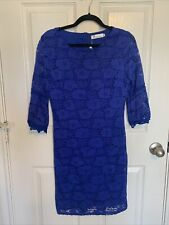 TWINK LADY Royal Blue Lace Flutter Sleeve Dress Small