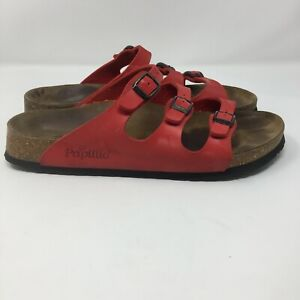 Birkenstock Papillio 40 9 Narrow Red Floral Embossed Sandals Leather Footbed
