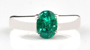 Real 14KT Gold With 1.20Ct Oval Cut Natural Zambian Green Emerald Solitaire Ring