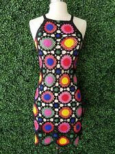 H&M Loves Coachella Black Rainbow Crocheted Embellished Festival Boho Dress 6 S