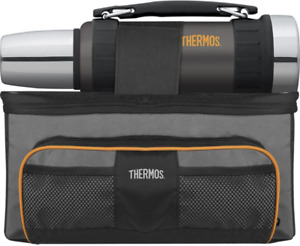 Thermos Lunch Lugger Cooler And Beverage Bottle Combination Set, Gray