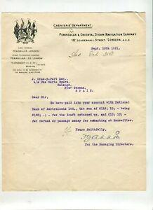 Letterhead P & O 1921 Peninsular & Orient Steam Navigation Company