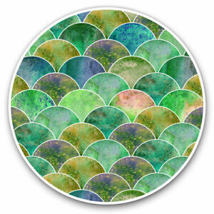 2 x Vinyl Stickers 10cm - Emerald Green Mermaid Scales Cool Gift #2544