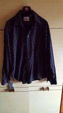 "New YVES SAINT LAURENT XL 17 1/2""  Black Thin Striped Long Sleeve Business Shirt"