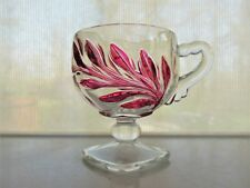 Indiana Glass Clear with Red Stain Willow Oleander Magnolia 5 oz Footed Cup