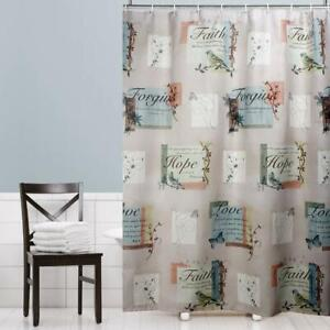 Fabric Shower Curtain Liner Polyester Hopeful Printed Washable Bathroom Panel