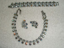 Vntg Parure Silvertone Lt Blue Aurora Rhines Necklace Bracelet Earrings