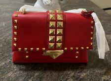 Michael Kors CeCe Signature Studded Chain Medium Crossbody Bag Bright Red, Auth