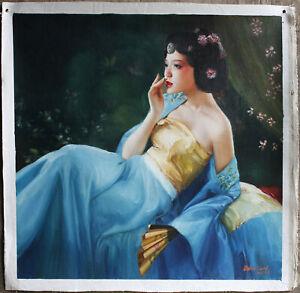 """Fine art unique/original oil painting pure Qing Dynasty court lady beauty 30X30"""""""