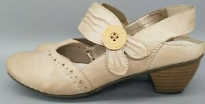 Ladies Rieker Smart Heeled Shoes Cream UK 6/39
