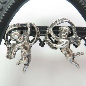 Vintage Celebratory Cherubs Angels Wings Sterling Silver Screw Back Earrings