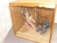 Antique Japanese Shadow Wood Box w Glass Diorama Composition Boy & Asian Bear