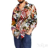 Camicia Uomo Hawaiiana Fantasia Fiori Cotone Vari Colori  Collo Manica Lunga