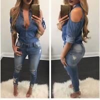 Donna Sexy spalla scoperta BLU JEANS COTONE T-SHIRT MANICA LUNGA maglia
