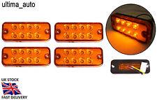 4X 12V 8 LED SIDE MARKER AMBER ORANGE INDICATOR REFLECTOR LIGHTS LAMP