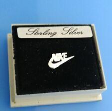 Single Sterling Silver medium retro Nike symbol earring ,