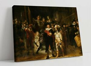 REMBRANDT, THE NIGHT WATCH -PREMIUM FRAMED CANVAS WALL ART PRINT