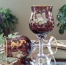 Italian Venetian Original Barbini Murano Handmade 24K Gold & Purple Wine Goblets