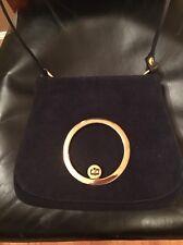 Vintage 1970's Navy Suede Handbag With Gold Circle Enclosure