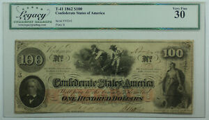 1862 $100 Hundred Dollar Bill Confederate Note T-41 Legacy VF-30