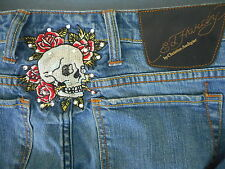 Ed Hardy Jeans by Christian Audigier Skull and stones on Waist band 30 Blue