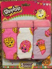 3 Shopkins Girls Hipster Panties Briefs Underwear Cotton Lippy Kooky D'Lish SZ 8