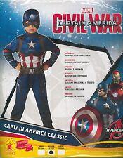 Vestito, Abito, Costume Carnevale, CIVIL WAR, CAPTAIN AMERICA (3-4 ANNI) MARVEL