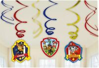 6 x Paw Patrol Birthday Party Hanging Swirl Decorations