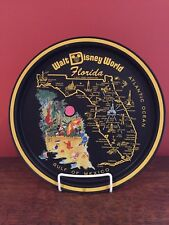 Vintage 1970's Walt Disney World Florida Tin Metal Black Souvenir Tray