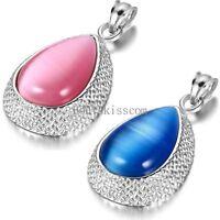 Tear Drop Water Drop Shape Opal Stone Pendant Necklace w Chain For Women's Gift