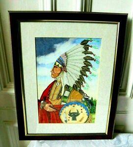 """Watercolour Original Large Painting Native American Indian """"Dark Cloud Looming"""""""