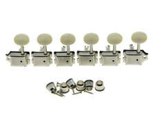Nickel w/ Aged White Lefty Split Shaft Vintage Guitar Tuning Keys Pegs Tuners