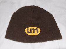 UM circle logo yellow embroidery brown knit winter beanie hat RARE OOP