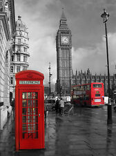 BLACK AND WHITE RED BUS/PHONEBOX LONDON BIG BEN  PRINT , PICTURE POSTER ART