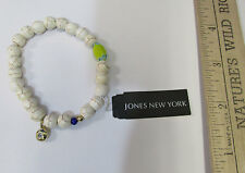 Jones New York Stretch Bracelet White w/ Brown Swirl Beads Gold Tone Charm NOS