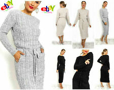 New  Ladies Cable Knitted Jumper Dress Women's Pocket Tie up Long Midi Dresses
