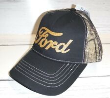New Official Licensed Ford Logo Cap Camo Mesh Back Adjustable Hat Black Gold 67f90644d5a1