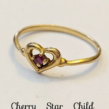 9k solid yellow gold heart ring set with a natural red ruby size 5.5