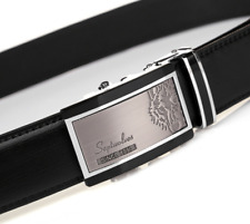 Septwolves men real Genuine cow leather belt Auto lock Buckle black 1105500
