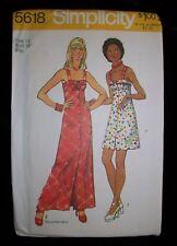 SIMPLICITY Vintage 1973 Pattern 5618 Empire Waist Sun Dress Mini Maxi 14 Uncut