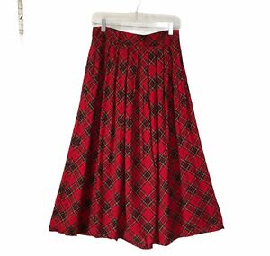Vintage Red Plaid Maxi Skirt M/L