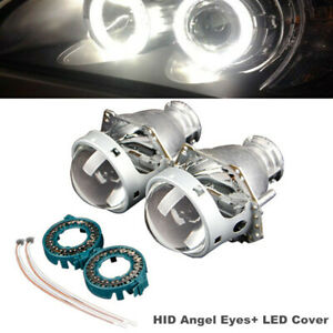"2Pcs 3"" Car Dual-lens High / Low Beam Round Headlights HID Angel Eyes+ LED Cover"