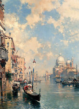 Stunning Oil painting Franz Richard Unterb The Grand Canal Venice & canoe church