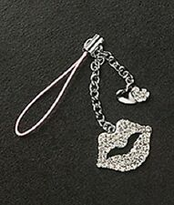 Cute Cell Phone Charm Strap Crystal Lips & Silver Heart Dangle Christmas Gift