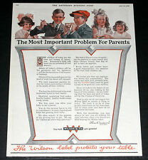 1920 OLD MAGAZINE PRINT AD, WILSON FOODS, LABEL PROTECTS YOUR TABLE, KIDS ART!