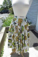 AWESOME Huge Swing Skirt 1950's Vintage Tan Olive Yellow Fruits Veg rockabilly