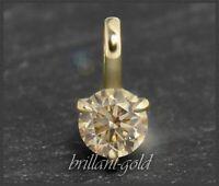 Diamant Brillant 585 Gold Damen Anhänger 0,39 ct; champagner, Si2; Gleiter NEU