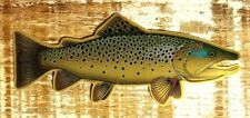 BROWN TROUT Brushed Alloy Sticker Decal  by Evan Makuvek fly fishing