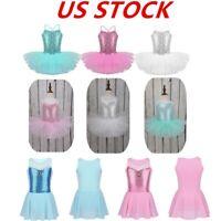 US Girls Kids Ballet Dress Dance Gymnastics Sequins Tutu Skirt Dancewear Costume