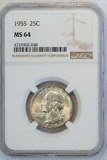 1955 Washington Silver Quarter (NGC MS64 MS 64) US Coin B0608